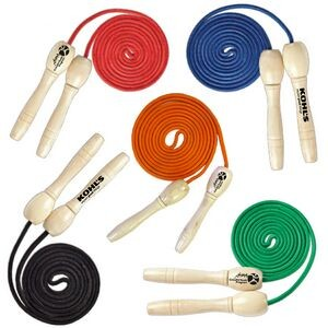 "108"" Adult Size Solid Natural Wood Handle Jump Rope"